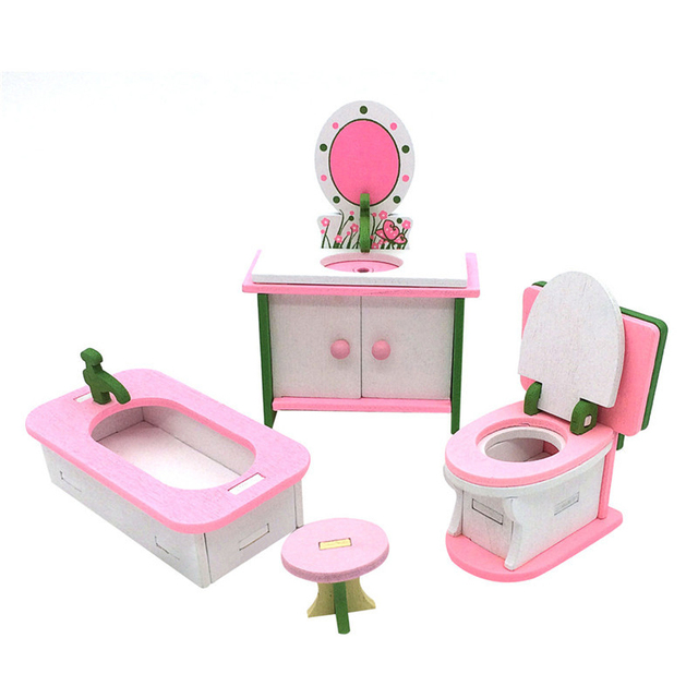 ABWE Best Sale 1 Set Baby Wooden Dollhouse Furniture Dolls House Miniature  Child Play Toys Gifts