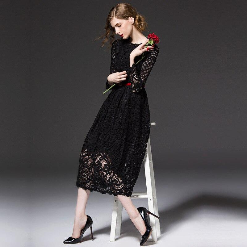 2019 nouvelle robe de printemps à manches longues et sexy robe en dentelle longue robe robe de soirée blanche