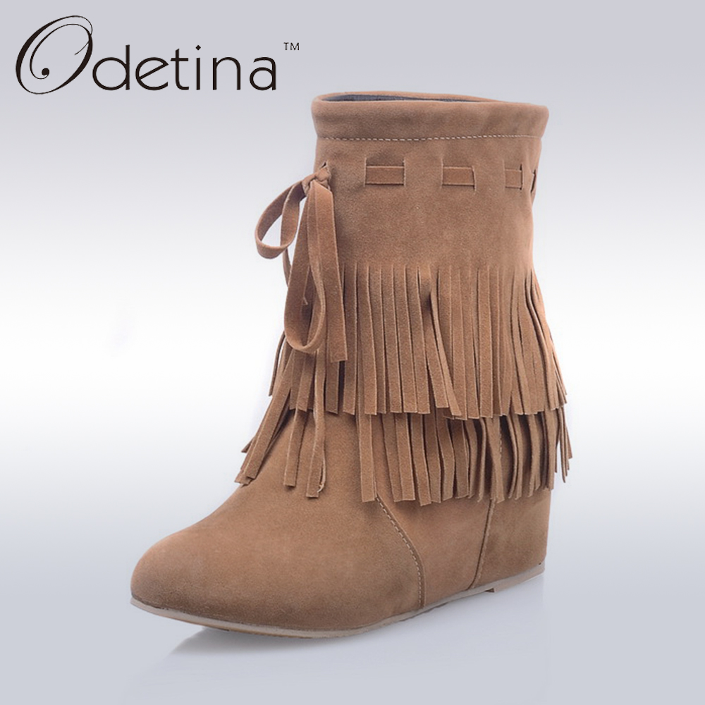Odetina 2017 New Faux Suede Women's Hidden Heel Boots Tassels Slip On Fringe Wedge Booties High Increasing Shoes Big Size 34-43 masculine women s dark brown ultrashort short straight side bang synthetic wig