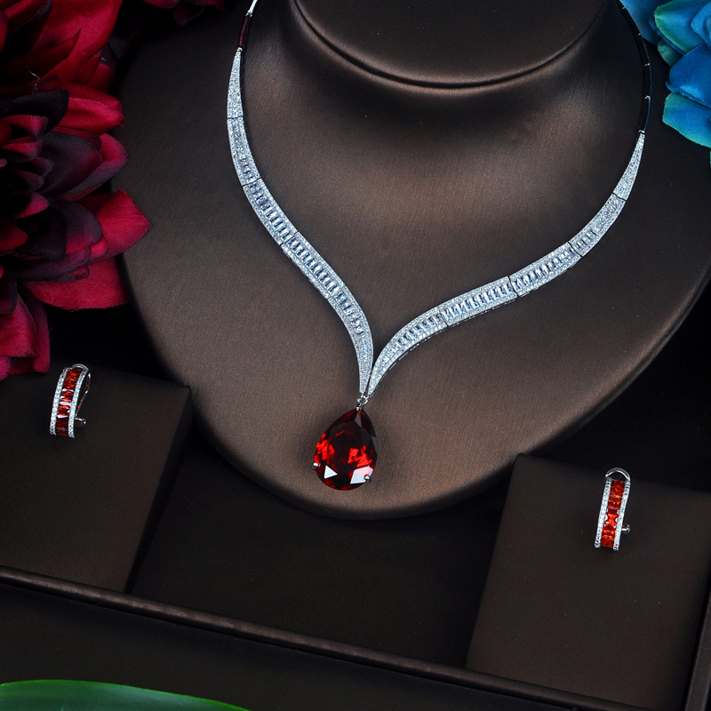 Image 2 - HIBRIDE Luxury Red Water Drop Cubic Zirconia Women Jewelry Sets 