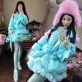 Thailand tide brand custom two piece suit  female white down  jacket + mesh skirt two pices suit