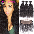 7A Indian Water Wave Human Hair With Closure13x4 Ear To Ear Lace Frontal Closure With Bundles,mslynn Hair 3 Bundles With Closure