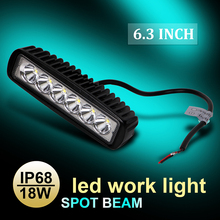 6.3″ 18W LED Work Light High Power 5D PC Lens Spot Beam Lamp 6000K IP68 Waterproof 6 LEDs Boat Lighting Light