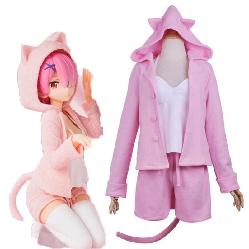 Anime Re ZERO Starting Life in Another World Cosplay Costumes Rem Ram Cosplay Cat Ears Pajamas Halloween Carnival Party
