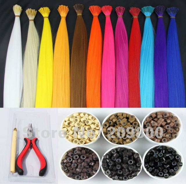 """16"""" set/120s feather hair extentions synthetic hair+one plier and wooden needle+120pcs silicone micro rings FREE SHIIPING"""