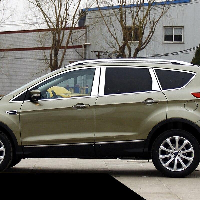 Lsrtw2017 304 en acier inoxydable voiture fenêtre garnitures pour ford kuga 2012 2014 2015 2016 2017 2013 2018 ford ecsape
