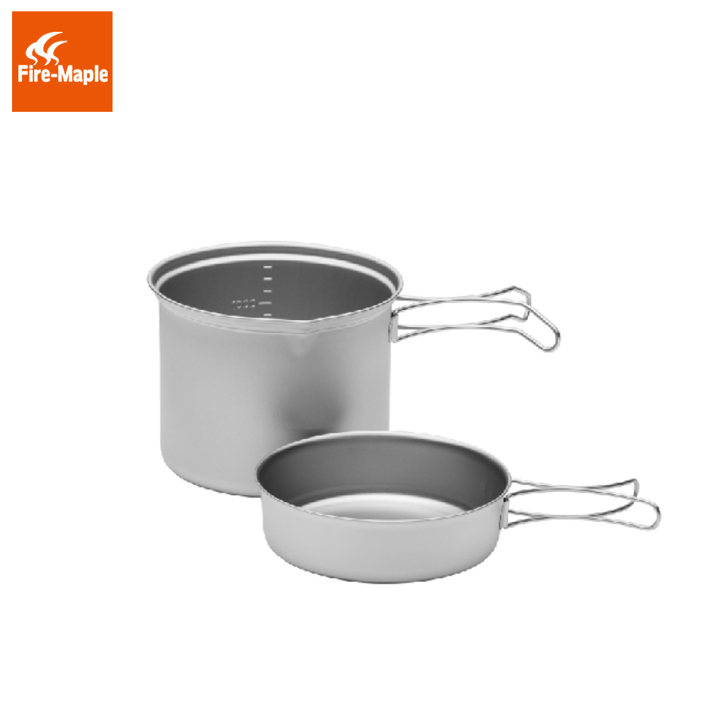 Fire Maple SnowTi 3 Portable Snow Titanium 1.3L Outdoor Camping Pot and 0.42L Frying Pan Ultra-Light Camping Pots Set FMC-ST3 fire maple portable titanium flagon outdoor sake set camping wine pot with cup travel drinkware fmc 1703002 fmc 1703003