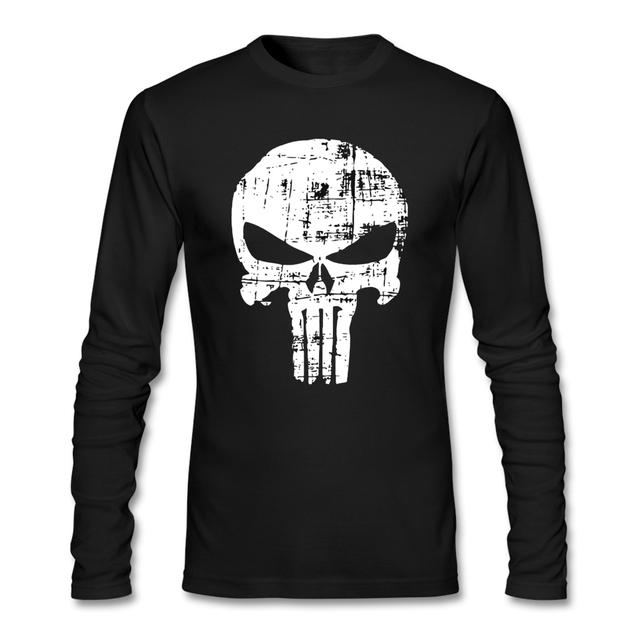 Los hombres de Otoño de Manga Larga de Algodón de Gran Tamaño Camisa de Imprimación de La Calle Vintage Punisher Skull T-shirt Para Hombres Regalo de Año Nuevo