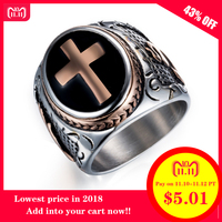 DANZE Cross Gold Rose gold Men Signet Rings Cross Titanium Steel Medieval Anel Masculino Jewelry For Gifts Size 7#-15#
