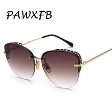 Wholesale PAWXFB 2019 Rimless Sunglasses For Women Gradient Diamond Retro Ladies Glasses UV400 Shades(A lot 3 Pieces)
