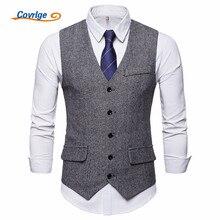 Covrlge Brand Suit Vest Men Jacket Sleeveless Man Coat Single Breastedt MWX034
