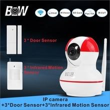 Wifi cámara ip onvif + 3 sensor de puerta 3 infrarrojos motion sensor wi-fi de video vigilancia de cámaras de seguridad del sistema de alarma bw12r