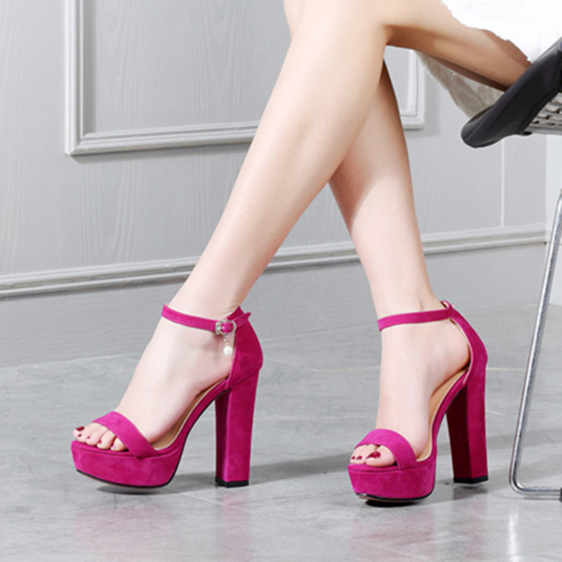 4c5e51a47119 Heels Black Platform Red Strap Party Women Size Elegant Shoes Rose Ankle Sandals  High Summer YMECHIC ...