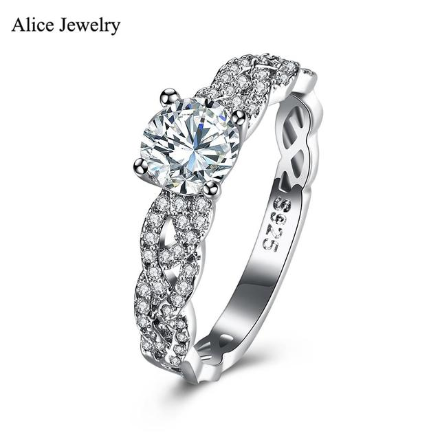 SVR123 2016 New 100% Real Pure 925 Sterling Silver Ring AAA Zircon Party /Engagement /Wedding Rings For Women