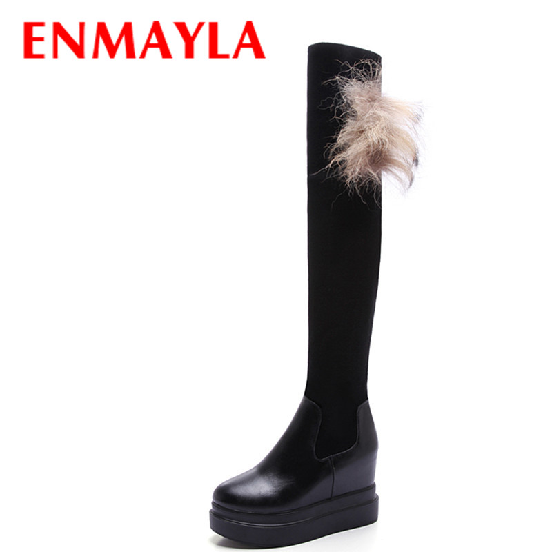 Airfour New Brand Women Boots Shoes Woman 2 Colros White Winter Over-the-knee high heels platform