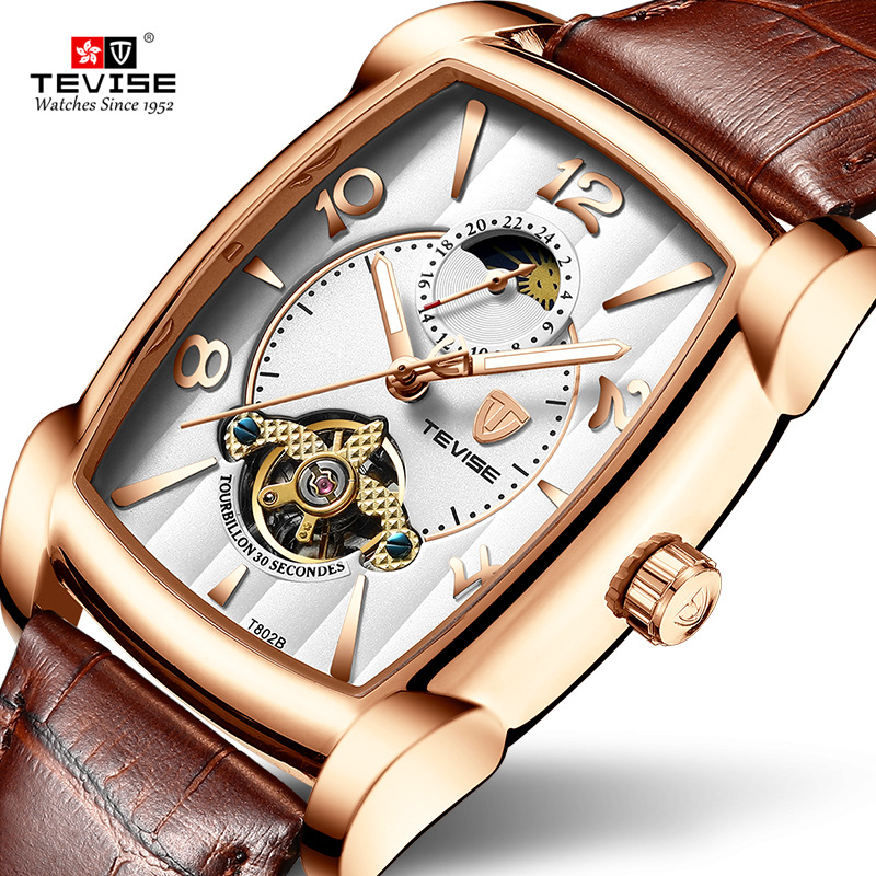 TEVISE T802B Men Watches Moon Phase Tourbillon Rectangle Wristwatch Mens Waterproof Luminous Automatic Mechanical Leather Clock
