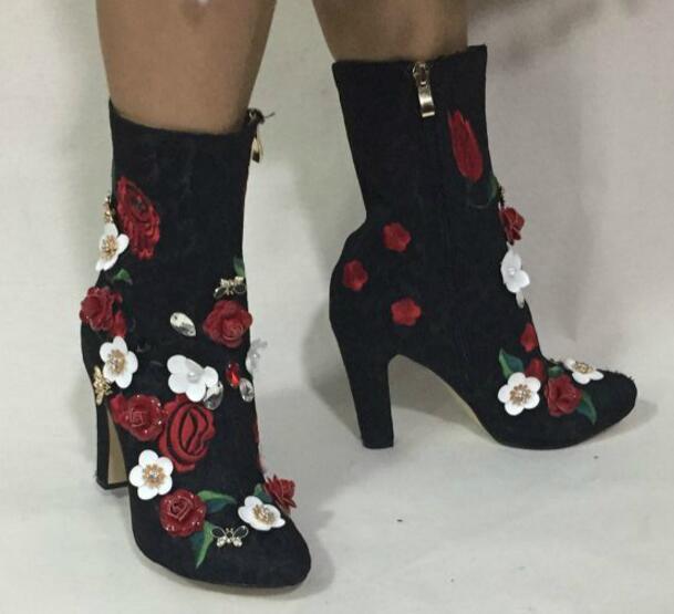 Flowersizme të larta të qëndisura me lule të larta, çizme të - Këpucë për femra - Foto 4