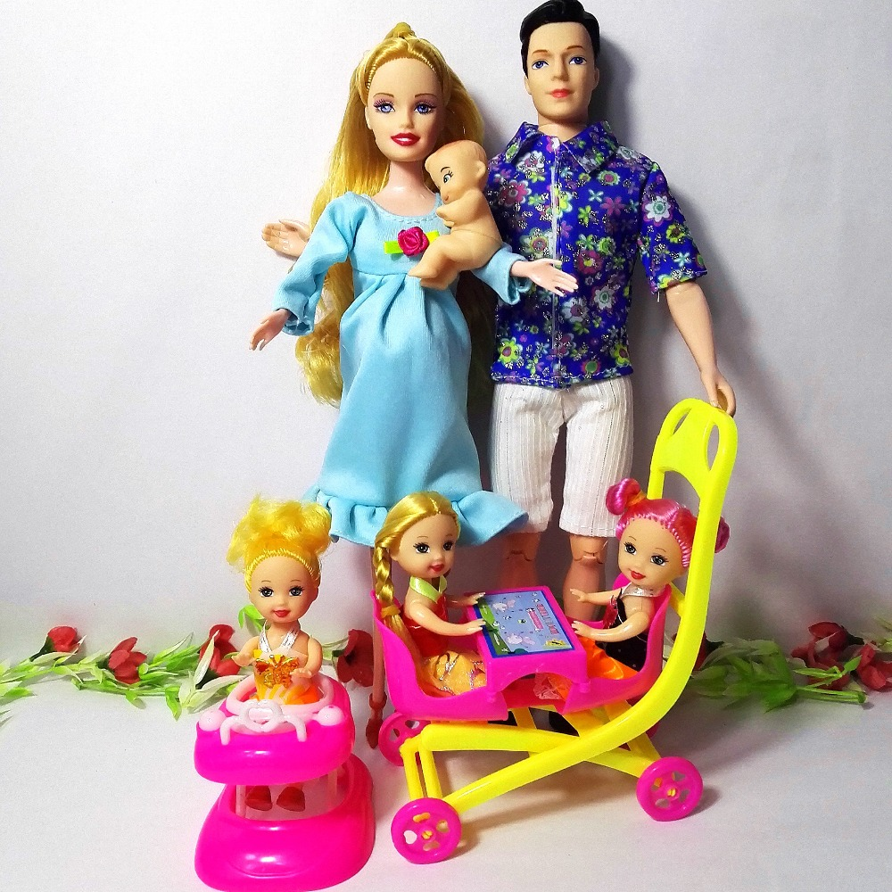 Girls Toys Family 6 People Dolls Suits 1 Mom/1 Dad/3 Little Kelly /1 Baby Son/1 Baby Walker/1 Baby Carriage For Pregnant Barbie