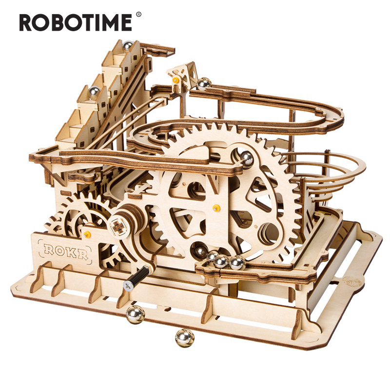 4 Kinds Marble Run Game DIY Waterwheel Wooden Model Building Kits Assembly Toy Gift For Children Adult Dropshipping
