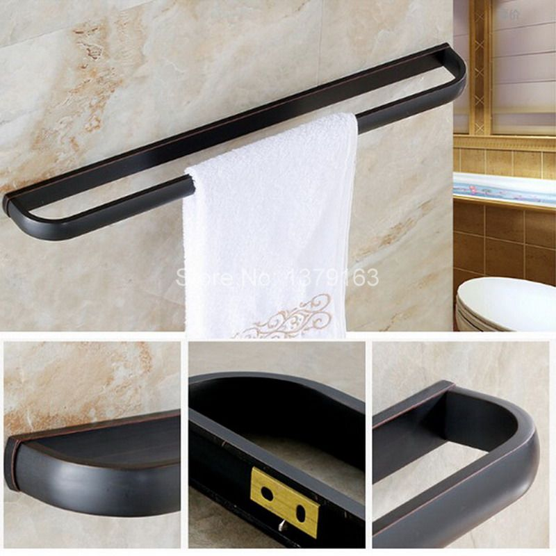 Black Oil Rubbed Brass Wall Mounted Bathroom Towel Single Bar Rail Rack Holder Bathroom Fitting aba192 allen roth brinkley handsome oil rubbed bronze metal toothbrush holder