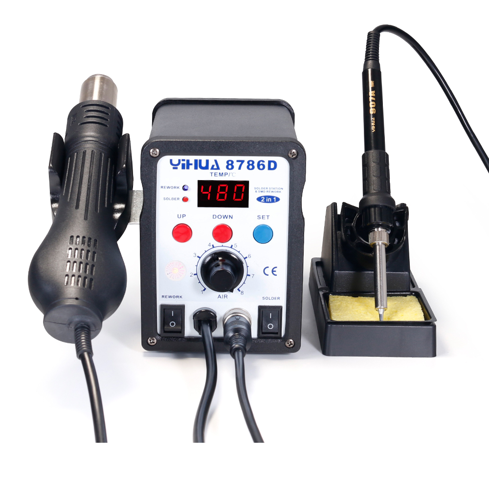 YIHUA 8786D Hot Air Digital Soldering Station for Phone and Laptop Chip Soldering 16