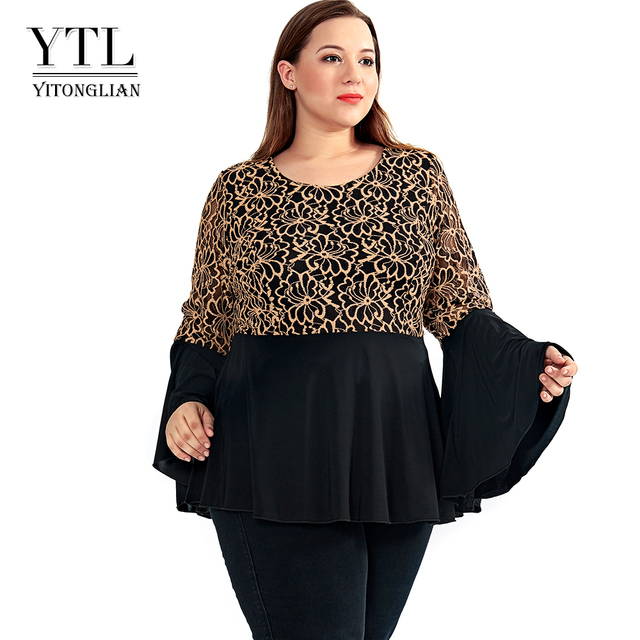 a3f10721cd YTL Women Plus Size Tunic Retro Gold Lace Top V Neck Patchwork Flare Sleeve  Blouse Spring Autumn Female Black Shirt 7XL 8XL H122-in Blouses & Shirts ...