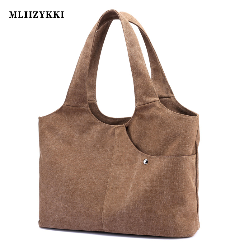 MLIIZYKKI Casual Women  Large Capacity Tote Canvas Shoulder Bag Shopping Bag Beach Retro Tote Bags aosbos fashion portable insulated canvas lunch bag thermal food picnic lunch bags for women kids men cooler lunch box bag tote