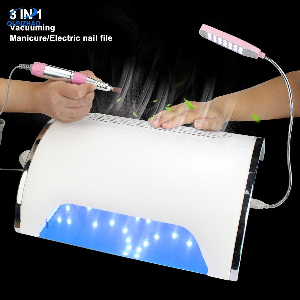 Recolector de polvo de taladro lima de uñas al vacío 54W potente potencia UV LED 3 ventiladores secador de uñas lámpara de curado limpiador de uñas más taladro lijado pluma - 6