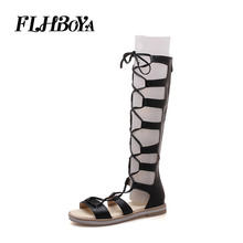 Summer Slim Knee-High Thigh Flat with Rome Boots Sandals Women Ladies Ripped Cross-tired Open Toe Lace up Flat Shoes Large size недорого
