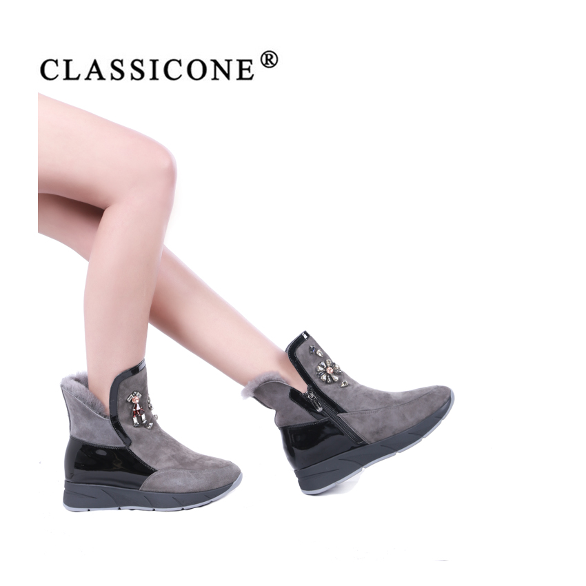 CLASSIOCNE 2018 shoes woman snow ankle boots winter genuine leather warm wool flats brand fashion style designers black gray in Ankle Boots from Shoes