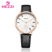 KEZZI Women Top Brand Watches Lady Dress Wristwatches Quartz Leather Strap Watches Female Women's Clock relogio feminino Black