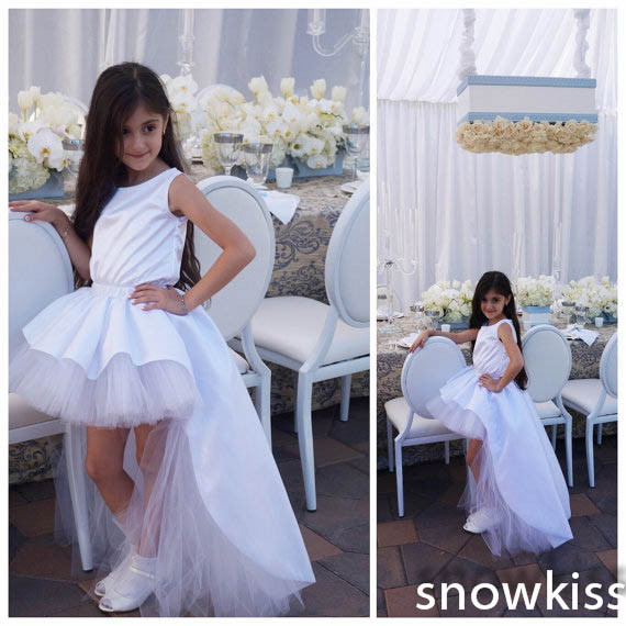 Beautiful high low white/ivory solid satin flower girl dresses cute sleeveless tulle ball gowns for wedding birthday party dd001891 beautiful white