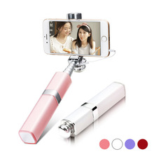 Fashion Lipstick Nude Design Bluetooth Wireless Selfie Stick monopod travel monopod for Samsung Android font b