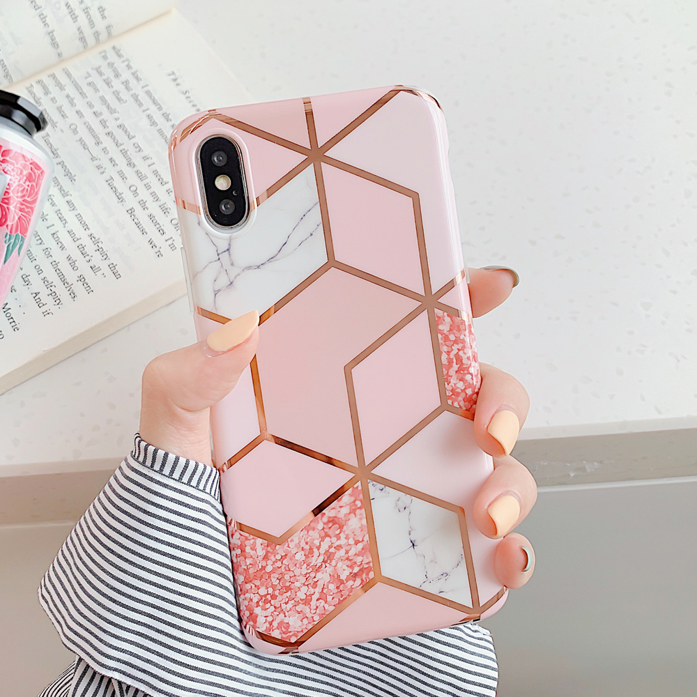 LOVECOM Geometric Marble Phone Cases For iPhone 11 Pro Max XR XS Max 6 6S 7 8 Plus X Soft IMD Electroplated Back Cover Coque 4