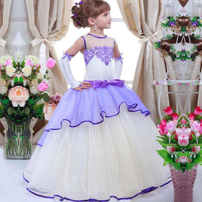 Flower Girls Dresses For Weddings Lace Ball Gown Sleeveless Long Dresses First Communion Pageant Gowns Lovely Girls Dresses 2017 lovely pink ball gown short flower girl dresses 2018 beaded pearls first communion dresses for girls pageant dress
