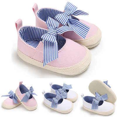 Pudcoco 2018 รองเท้าเด็กวัยหัดเดินเด็กแรกเกิดเปลลาย Bowknot Soft Soled Princess รองเท้า Prewalker 0-18 เมตร