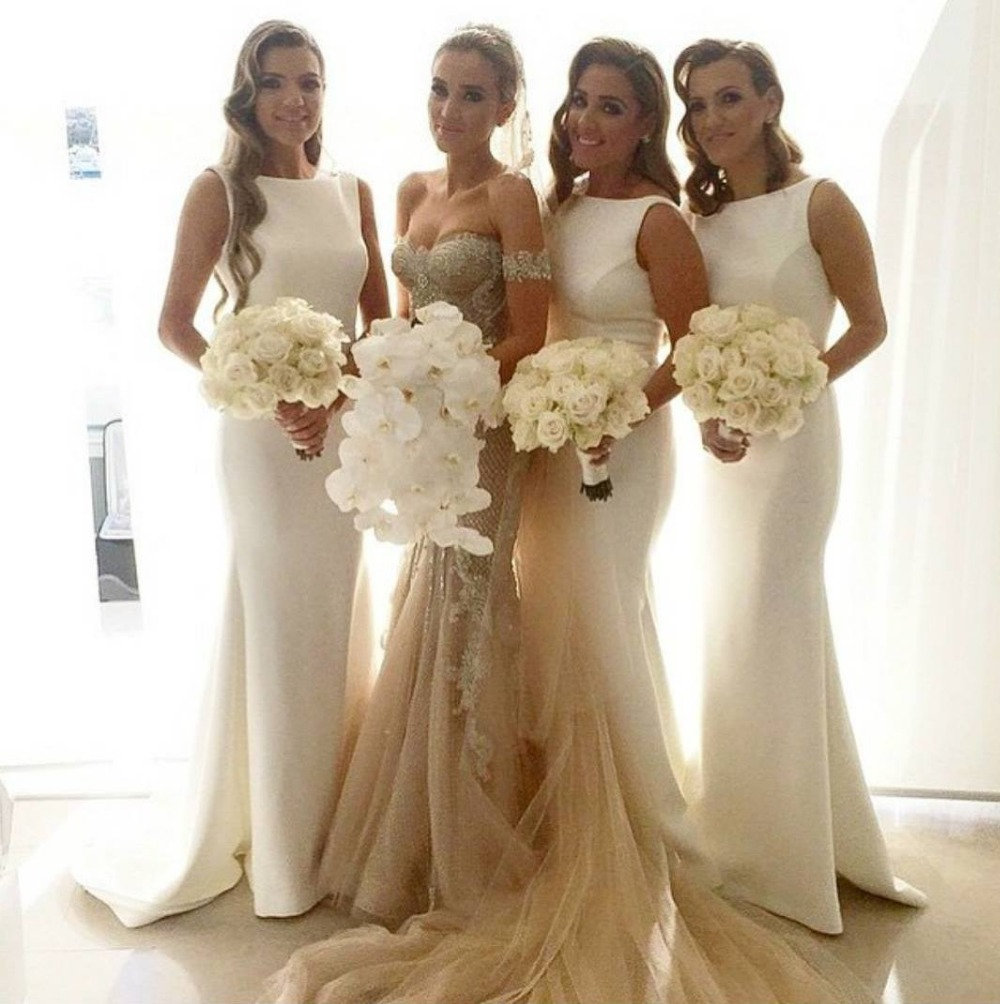 Ready to ship Big Discourt Promotion 2016 Cheap Mermaid Tank Sleeveless Beige Long   Bridesmaid     Dress   for women