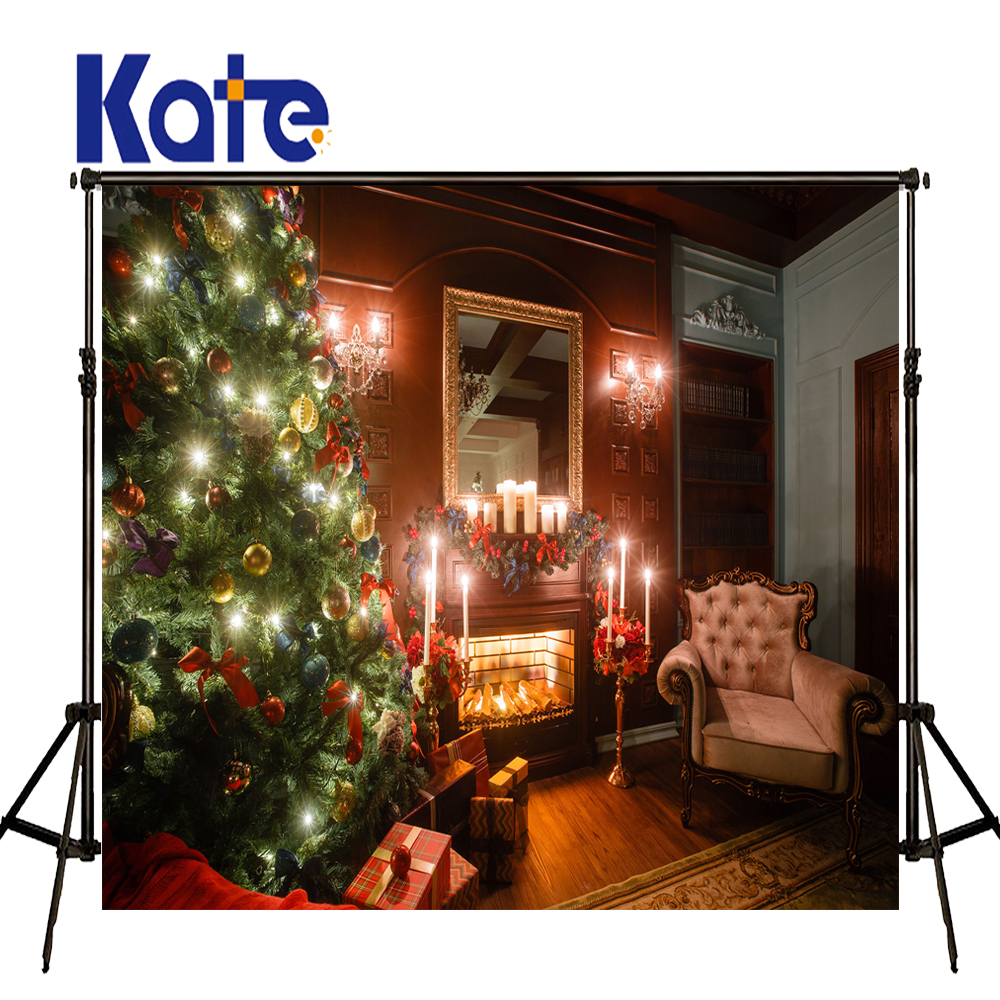 KATE Photography Backdrops Christmas Backdrop Arbol De Navidad  Madera Decorative Fireplaces Wood Floor Background silla de director plegable de madera con bolsas para maquillaje pelicula studio hw46460