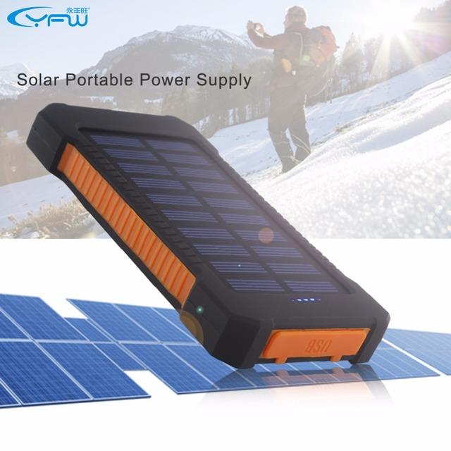 YFW 2016 Impermeable Solar Banco de la Energía 10000 mAh Dual USB Cargador de Batería Solar Portátil con Luz LED y Compás para teléfono Universal