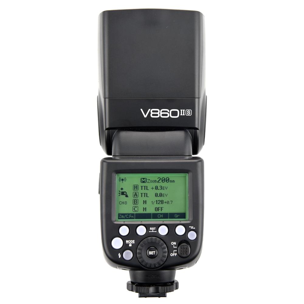 Godox V860II-S TTL 1/8000S HSS GN60 Li-ion Battery Speedlite Flash Light for Sony A7 A7S A7R A7 II A7R II A7S II A6000 A6300 godox v860ii n v860iin gn60 i ttl hss 1 8000s speedlite flash w li ion battery x1t n flash transmitter optional for nikon