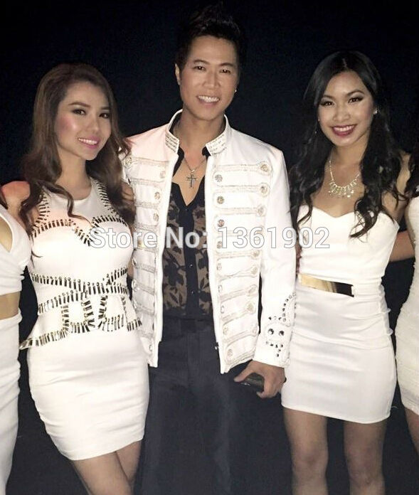 Men Plus size jacket white buttons performance blazer outerwear ds dj singer dancer coat jazz slim stage costume male outfit