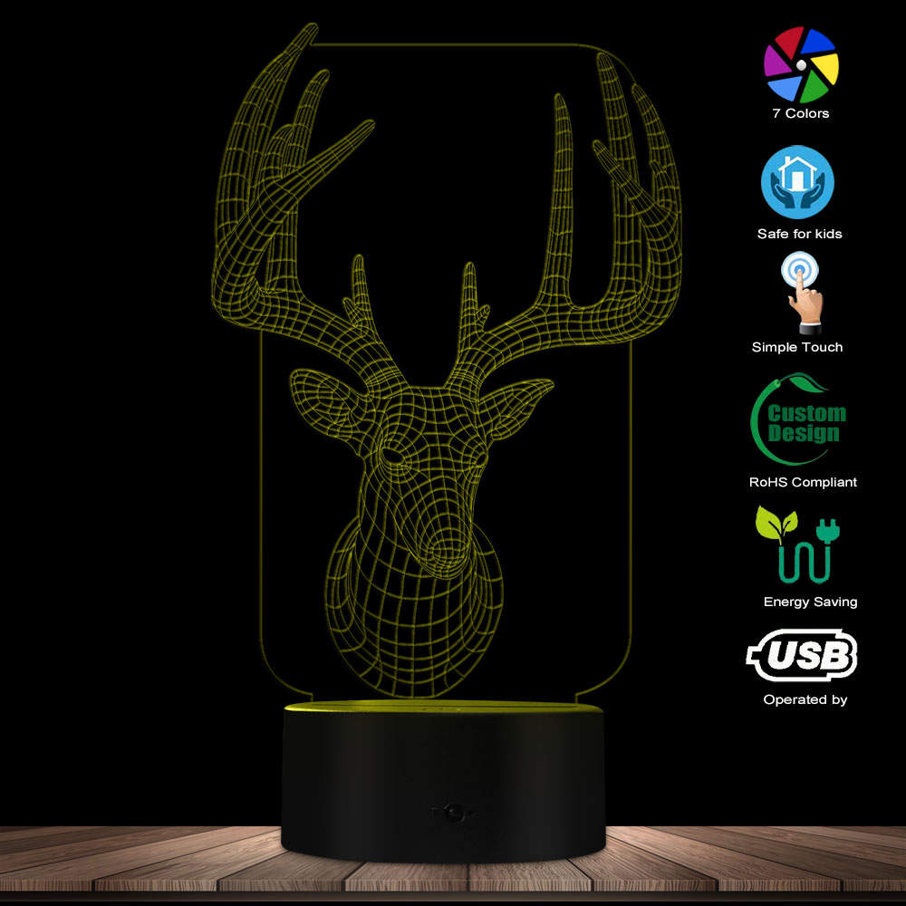 Deer Head 3D Optical Lamp Animal Modern Light With Colorful Discoloration Antler LED Illuminated Display For Hunter Hunting Gift