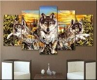 DIY Diamond Painting Cross Stitch Kit Full Diamond Embroidery 5D Square Diamond Mosaic Home Decor Wolf Animal 5pcs