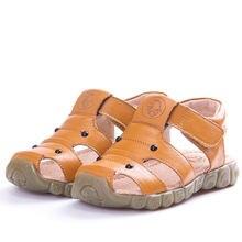 От 1 до 10 лет сандалии из натуральной кожи для маленьких мальчиков;