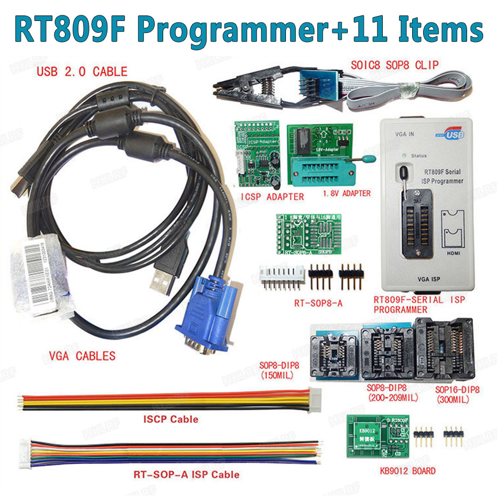 100% Original  Newest RT809F LCD ISP programmer+ 11 Items +SOP8 Test Clip+1.8V Adapter+TSSOP8/SSOP8 Adapter Free shipping-in Integrated Circuits from Electronic Components & Supplies