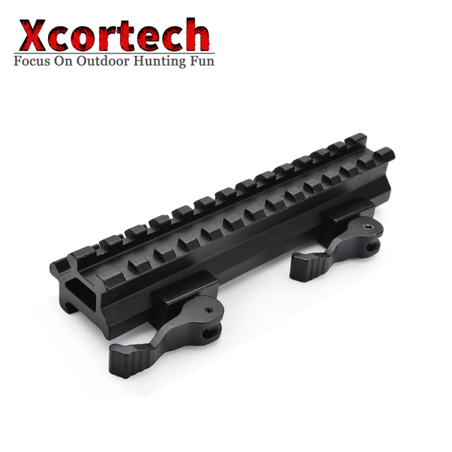 Tactical QD 13 Slots Weaver Scope Mount Base 20mm Picatinny Weaver Rail See Through Double Offset Rail Riser Mount For Hunting