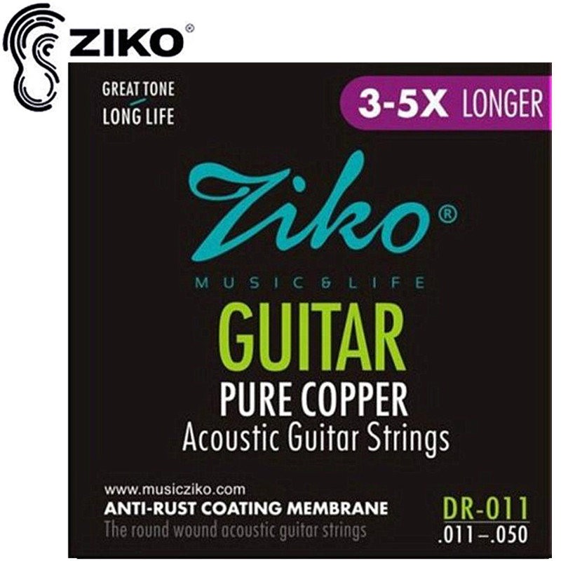 ZIKO 011-050 DR-011 Akustiske guitar strings Pure Copper ANTI-RUST strenge musikinstrumenter Tilbehør