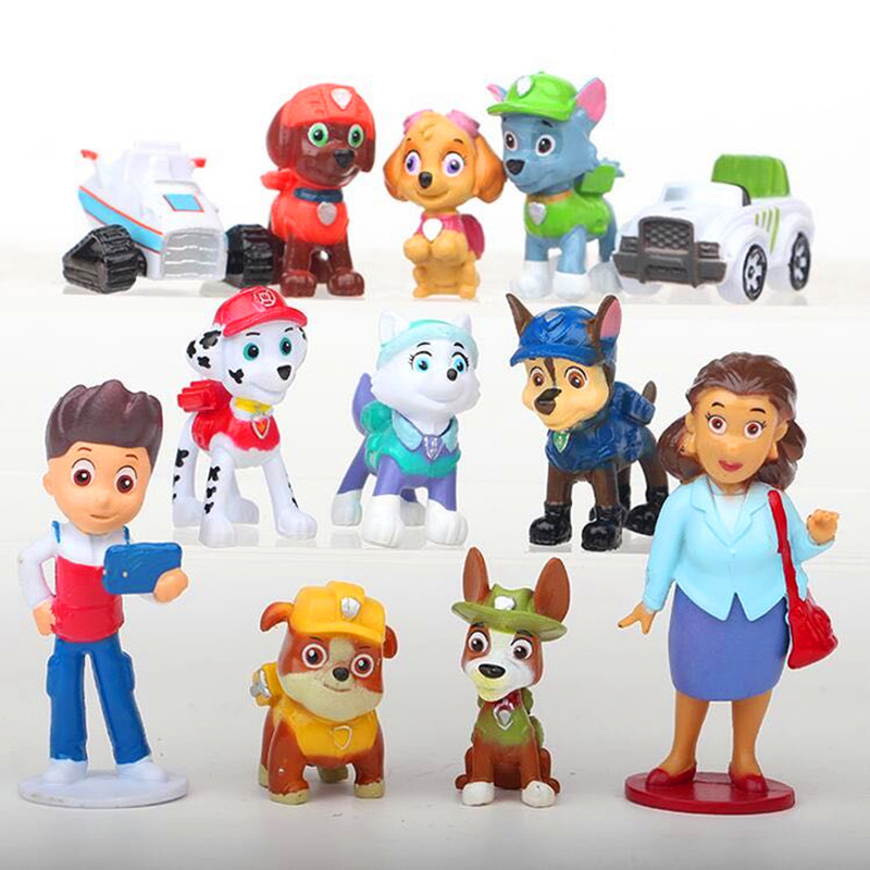 Paw Patrol Dog 12pcs/set Patrulla Canina Action Figures Vinyl Doll Toy Kids Children Toys Gifts