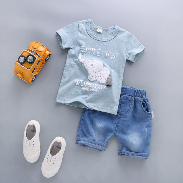 Newborn Baby Boy Clothing Sets Elephant T-shirt+Solid Pants 2Pcs 1