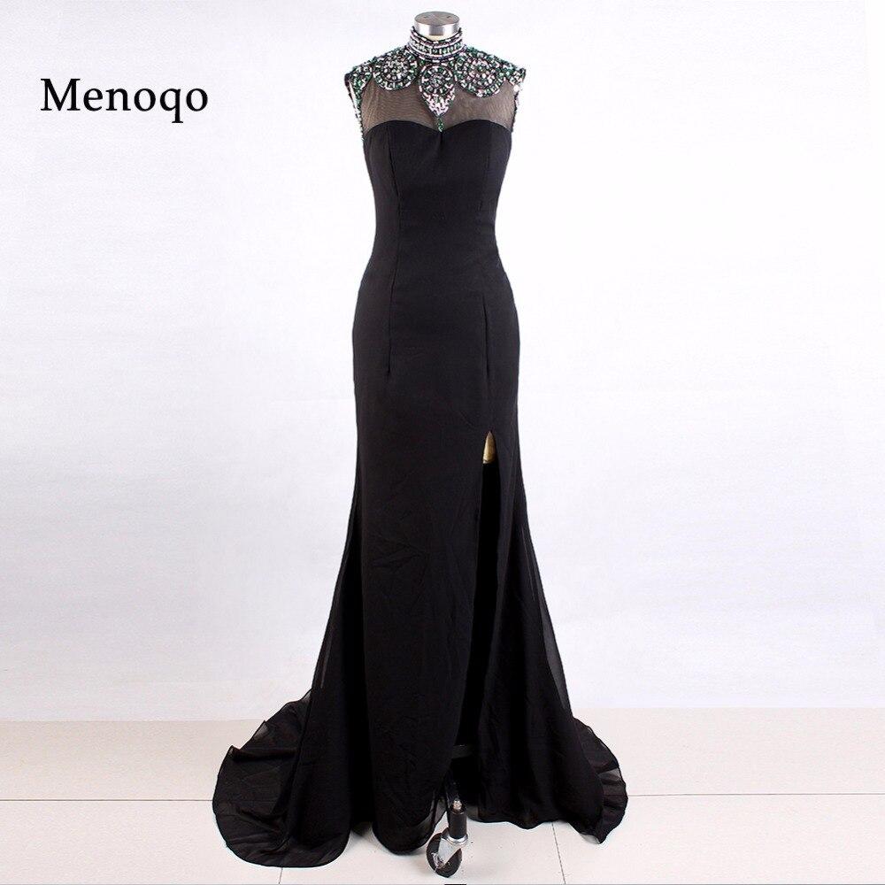 Vestidos de formatura Special Occasion Formal Black Mermaid Chiffon High neck Beaded Side Slit 2019   Prom     dresses